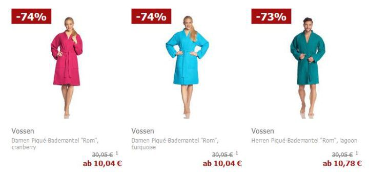 Vossen Bademäntel für Damen und Herren zum Preis ab 10,04€ (statt 30€)  [?]