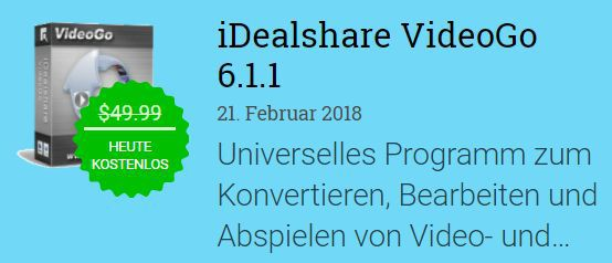 iDealshare VideoGo 6 (Vollversion, Windows) gratis