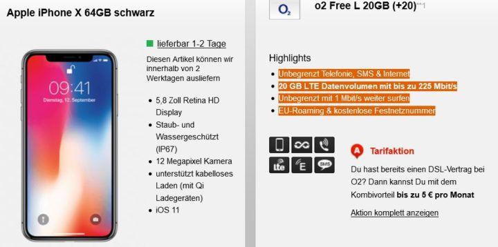 iPhone X 64GB für 49,95€ + o2 Free XL AllNet & SMS Flat mit 20GB LTE für 59,99€ mtl.