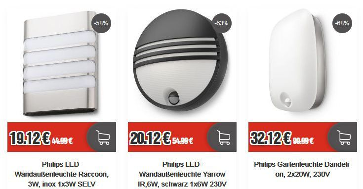 Home & Living Sale bei Top12.de   z.B. Philips LED Wandaußenleuchte Raccoon für 21,24€ (statt 30€)