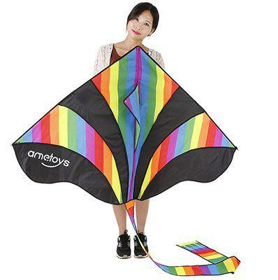 Großer Einleiner Drachen (290x140cm) in Regenbogen Optik für 4,80€ (statt ~11€)