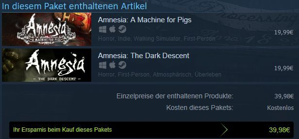 Amnesia Collection (Steam Key) gratis   nur für kurze Zeit