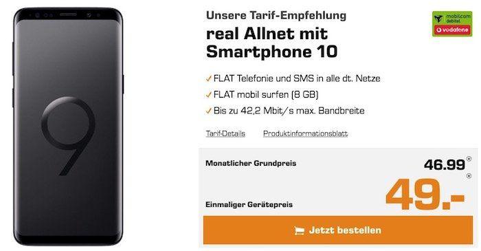 Knaller? Samsung Galaxy S9 für nur 49€ + Vodafone Allnet Flat mit 8GB für 46,99€ mtl.