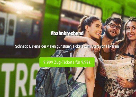 FlixTrain mit 9.999 Tickets ab je 9,99€ quer durch Deutschland