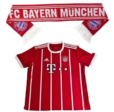 FC Bayern Fussball Fan Set (Trikot Home XL 2017/18 Kurzarm + Fan Schal) für 29,90€ (statt 37€)