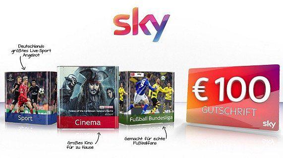 Sky Cinema, Sky Fußball Bundesliga oder Sky Sport Paket für 24,99€ + 100€ Gutschrift