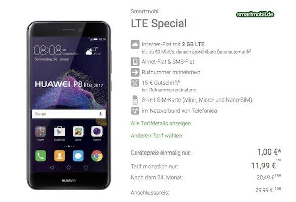 o2 Allnet Flat mit 2GB LTE für 11,99€ mtl. + Huawei P8 Lite (2017) für 1€