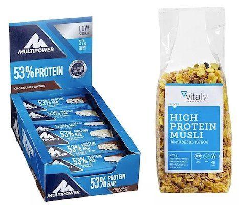 24er Pack 53% Protein Bar Chocolate Riegel (MHD 20.04.2018) + Vitafy Essentials High Protein Müsli (525g) für 19,49€