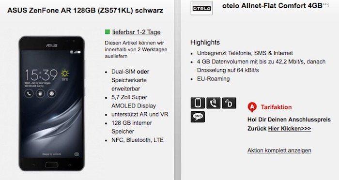 Asus ZenFone AR 128GB für 1€ + Vodafone Allnet Flat mit 4GB für 24,99€mtl.