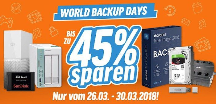 World Backup Days   bis zu 45% Rabatt auf Speichermedien und Systeme