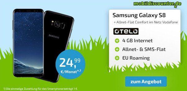 Samsung Galaxy S8 für 1€ + Vodafone Allnet Flat mit 4GB nur 24,99€ mtl.