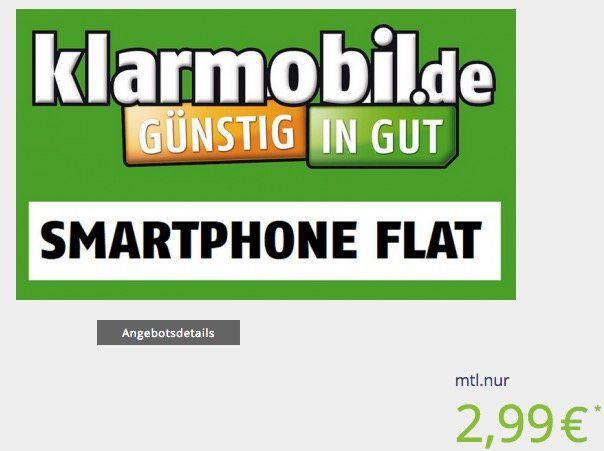 Klarmobil Telekom 100 Minuten + 400MB Datenvolumen für 2,99€ mtl.