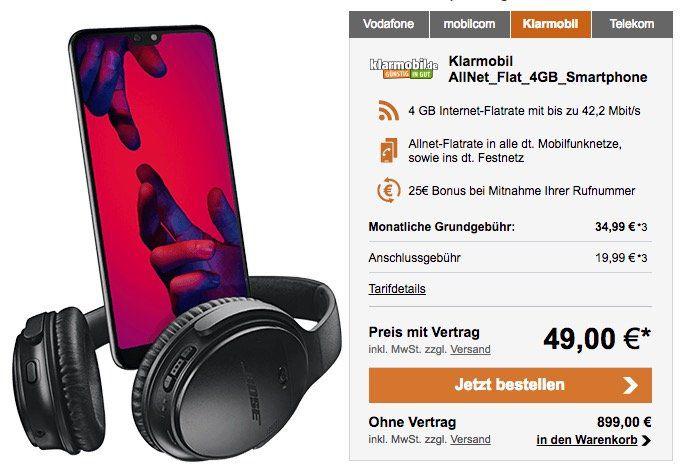 Knaller! Huawei P20 Pro nur 49€ + gratis Bose Kopfhörer + Vodafone Flat mit 4GB nur 34,99€ mtl. oder P20 mit 2GB  für 26,99€ mtl.