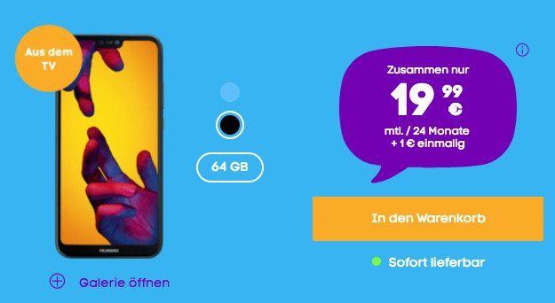 Huawei P20 Lite für 1€ + o2 Allnet Flat mit 3GB LTE für nur 19,99€ mtl.