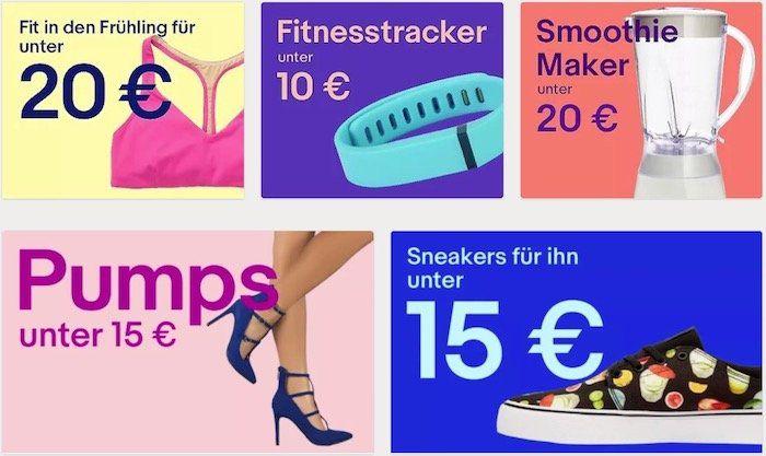 eBay Shopping unter 20€   z.B. Frühlingsdeko unter 5€ oder Fitnesstracker unter 10€