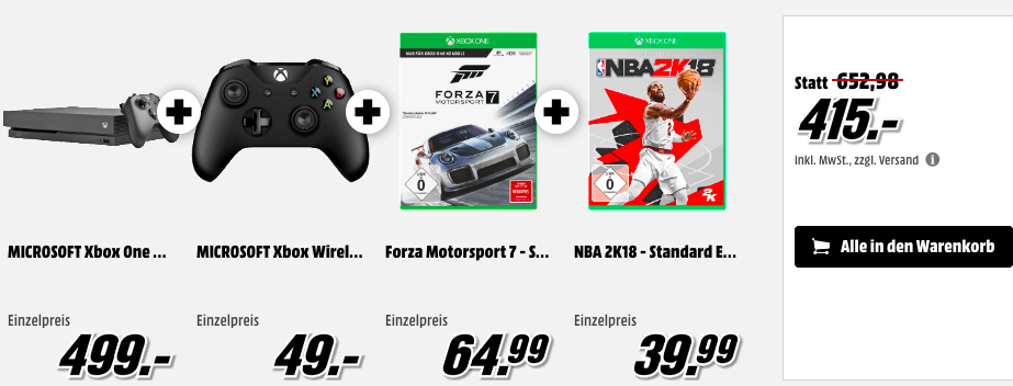 KNALLER! MICROSOFT Xbox One X 1TB + Wireless Controller + Forza Motorsport 7 + NBA 2K18 415€