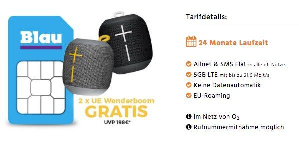 o2 Allnet XL mit 5GB LTE ohne Datenautomatik für 14,99€ mtl. + 2er Pack UE Wonderboom Lautsprecher gratis (Wert 120€)