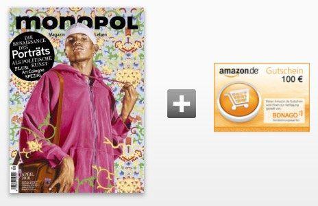 11 Ausgaben Monopol für 104,50€ inkl. 100€ Amazon Gutschein oder 95€ Verrechnungsscheck