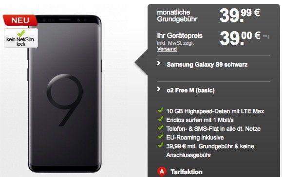 Samsung Galaxy S9 für 39€ + o2 Free M mit 10GB LTE für 39,99€ mtl.   Kombi Vorteil mit 5€ Rabatt pro Monat möglich