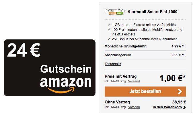 Bis Mitternacht: Telekom Tarif mit 100 Freiminuten + 1GB für 4,99€ mtl. + 24€ Amazon Gutschein