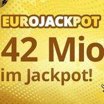 3 Felder Eurojackpot (42 Mio. Jackpot) für 2,20€ – nur Neukunden