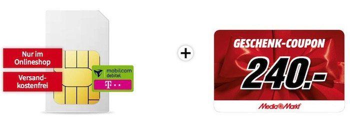 Telekom 10GB LTE (max. 150 Mbit/s) Datentarif für 19,99€ + 240€ Media Markt Gutschein
