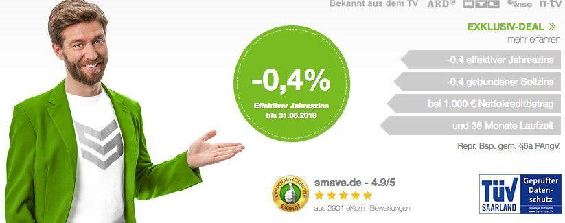 KNALLER! Smava Kredit über 1.000€ und nur 923€ zurückzahlen dank  5% Jahreszins!