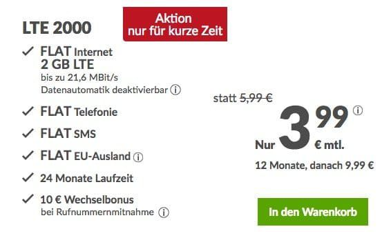 o2 Allnet mit 2GB LTE für 6,99€ mtl.