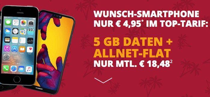 iPhone SE für 4,95€ + Vodafone Allnet Flat mit 5GB nur 18,48€ mtl.