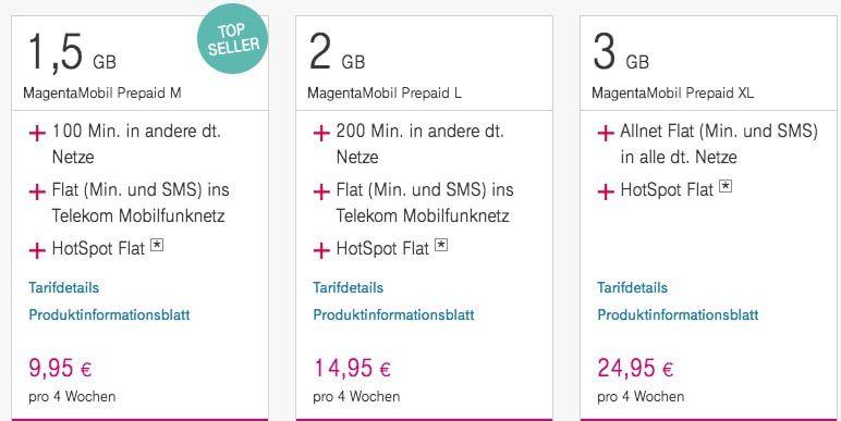 Telekom Prepaid Tarife mit bis zu 3GB LTE