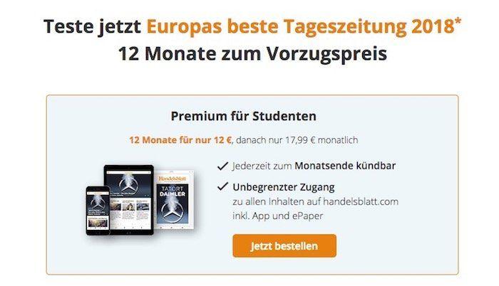 12 Monate Handelsblatt Digitalpass für nur 12€   nur für Studenten