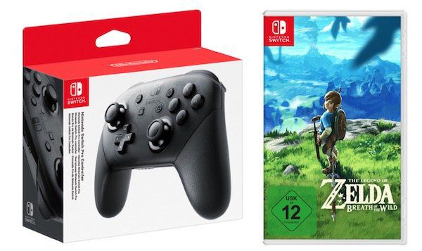 Nintendo Switch Pro Controller + The Legend of Zelda   Breath of the Wild für 89€ (statt 113€)