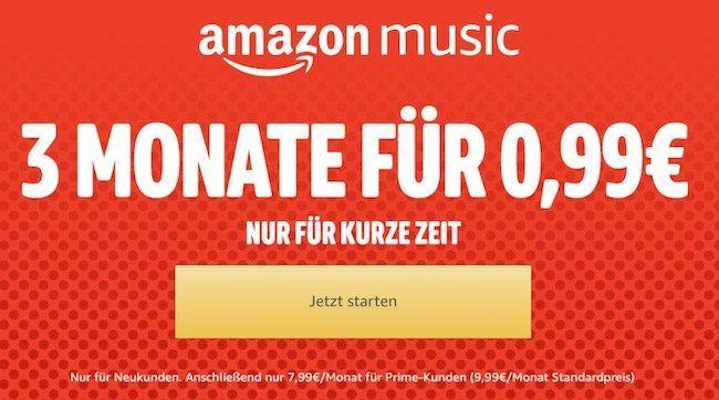 3 Monate Amazon Music unlimited für nur 0,99€ (statt 30€)   nur Neukunden