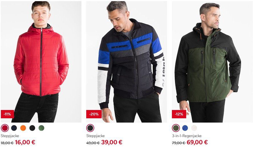 30% Rabatt auf alle reduzierten Jacken & Mäntel bei C&A
