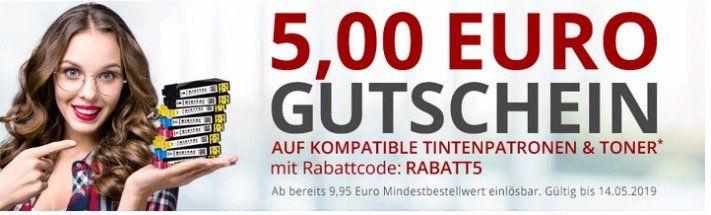 Druckerzubehör: 5€ Gutschein ab 9,95€ auf Tintenpatronen & Toner   ab 19,95€ vsk frei