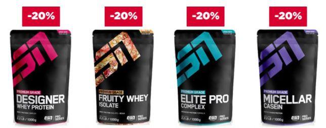 Fitmart: 20% Rabatt auf ESN Proteine   auch auf Staffelpreise