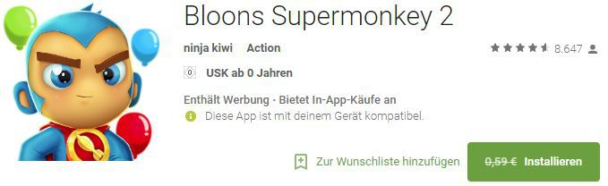 Bloons Supermonkey 2 (Android/iOS) gratis statt 0,59€