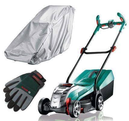 Bosch Rotak 32 Li Akku Rasenmäher (4Ah) + Handschuhe + Regenschutz für 244€ (statt 294€)