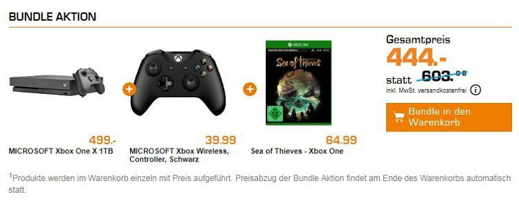 Xbox One X 1TB Konsole inkl. Xbox One Wireless Controller und Sea of Thieves für 444€ (statt 559€)