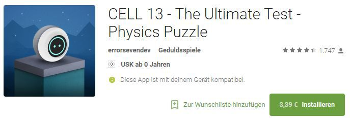 CELL 13   The Ultimate Test (Android) gratis statt 3,39€