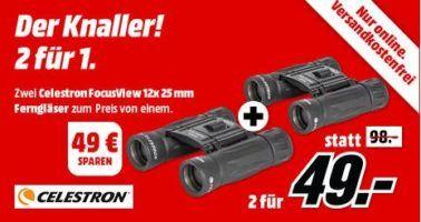 CELESTRON FocusView 12x fach Fernglas 25 mm    Doppelpack für 49€ (statt 110€)
