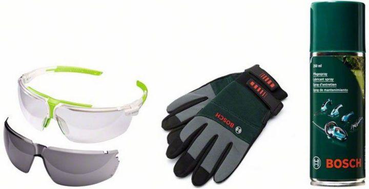 Schnell! BOSCH Woodcare Kit Gartenpflege Set (Schutzbrille, Gartenhandschuhe, Pflegespray) für 10€ (statt 30€)