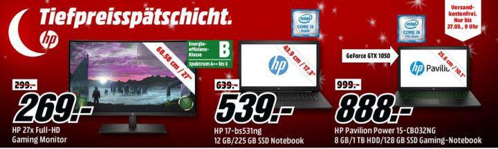 Media Markt HP Tiefpreisspätschicht: günstige Gaming Desktop PCs, Notebooks & Convertible, Monitore und Drucker