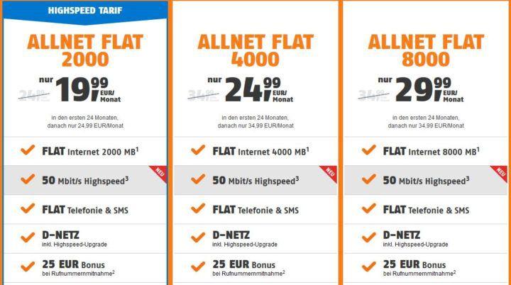 SIM only Knaller: D Netz AllNet & SMS Flat inkl.Datenflat bis 8 GB (max. 50Mbit/s) ab 19,99€ mtl.
