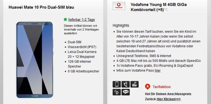 Vodafone Young M   AllNet & SMS Flat + 4GB LTE + Top Handys z.B. Huawei Mate 10 Pro für 22,99€ mtl.