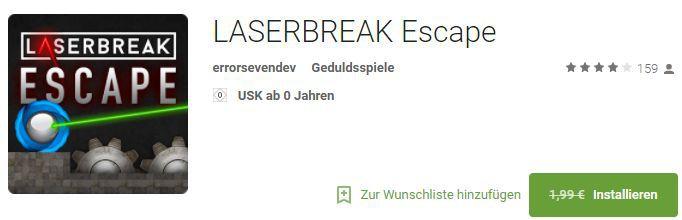 LASERBREAK Escape (Android) gratis statt 1,99€