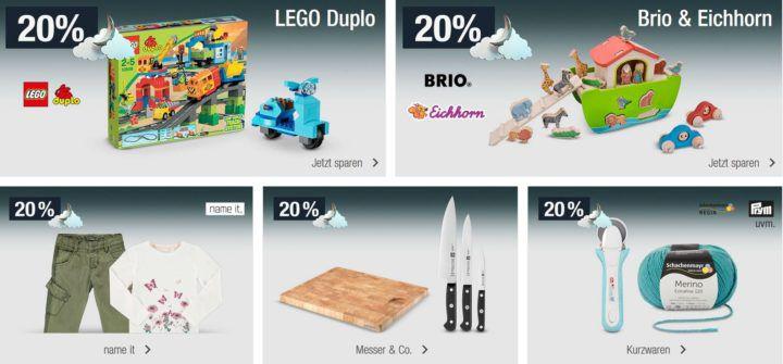20% Rabatt auf alle Artikel der Marke Lego Duplo, Brio & Eichhorn uvm.   Galeria Kaufhof Mondschein Angebote
