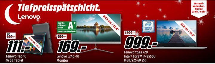 Media Markt LENOVO Tiefpreisspätschicht   günstige Notebooks, Monitore und Convertibles