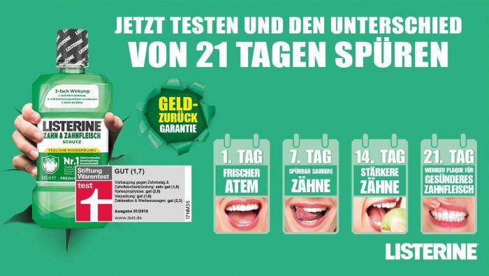Listerine Mundspülung gratis testen dank Geld zurück Garantie