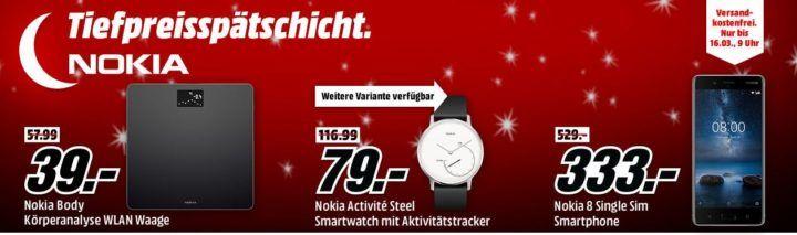 Media Markt NOKIA Tiefpreisspätschicht   günstige Health Artikel z.B. NOKIA Body Waage für 39€ (statt 45€)